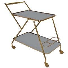 Italian Brass Faux Bamboo Bar Cart