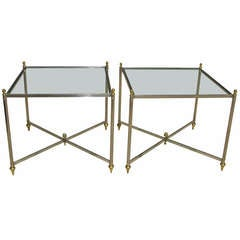 Pair of Italian Jansen Style Steel Brass Side End Tables