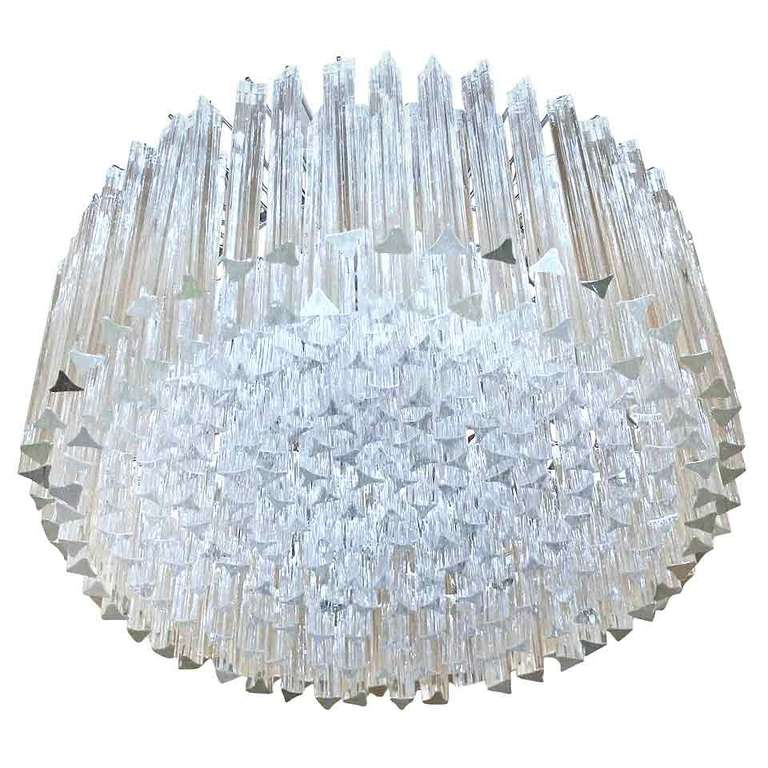 Murano Prism Chandelier: Huge Round Venini Murano Triedi Glass Prism Chandelier At