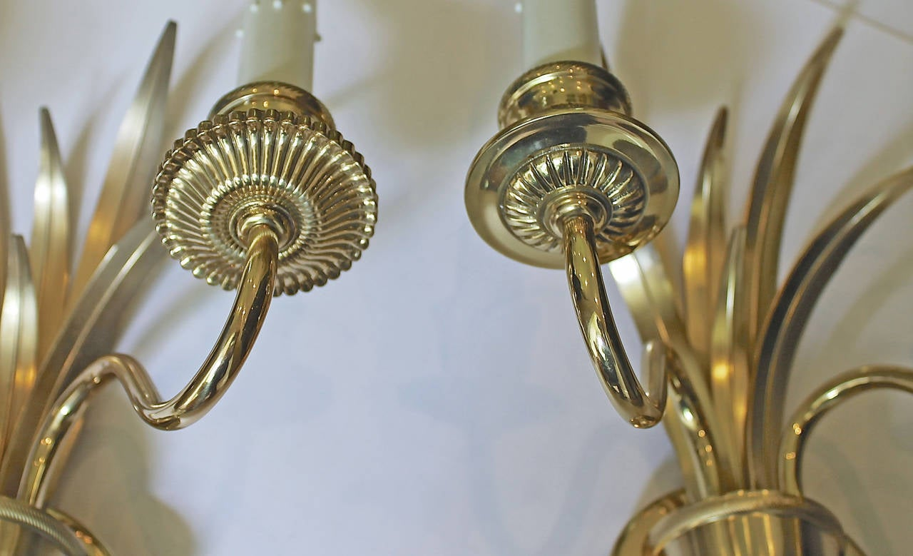 Pair of Wheat Motif Two-Arm Brass Wall Sconces For Sale 4