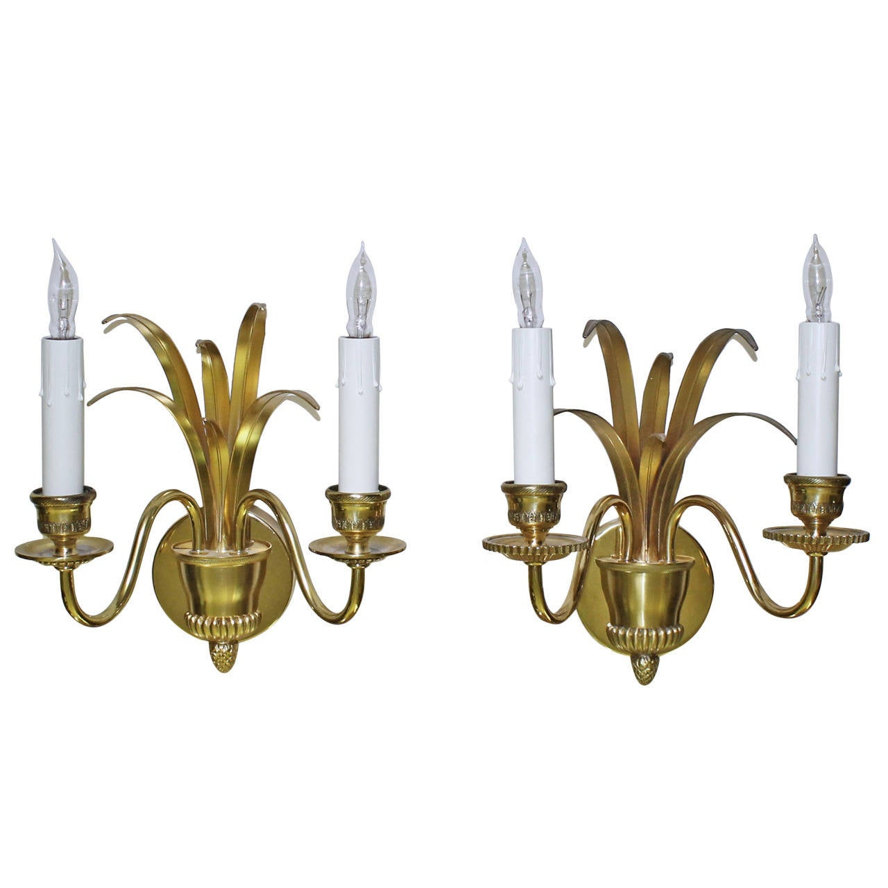 Pair of Wheat Motif Two-Arm Brass Wall Sconces For Sale