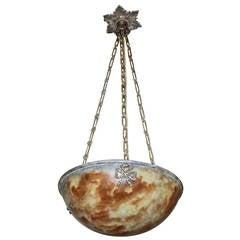 French Amber Alabaster Pendant or Chandelier