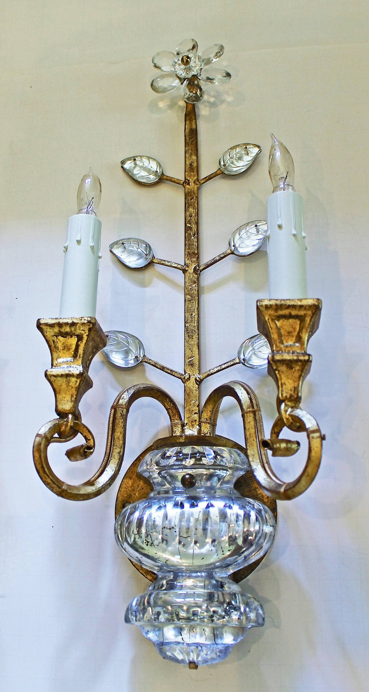 French Crystal Wall Sconces : Pair of Bagues Style French Crystal Gilt Wall Sconces at 1stdibs