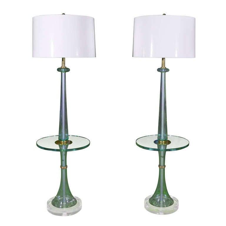 rare monumental pair of marbro glass floor lamp tables at 1stdibs. Black Bedroom Furniture Sets. Home Design Ideas