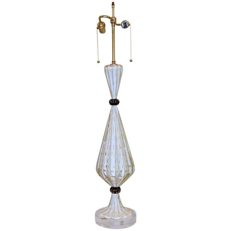 tall murano white gold controlled bubble table lamp at 1stdibs. Black Bedroom Furniture Sets. Home Design Ideas