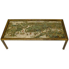 Large Philip & Kelvin Laverne Etched Bronze Spring Festival Bamboo Coffee Table