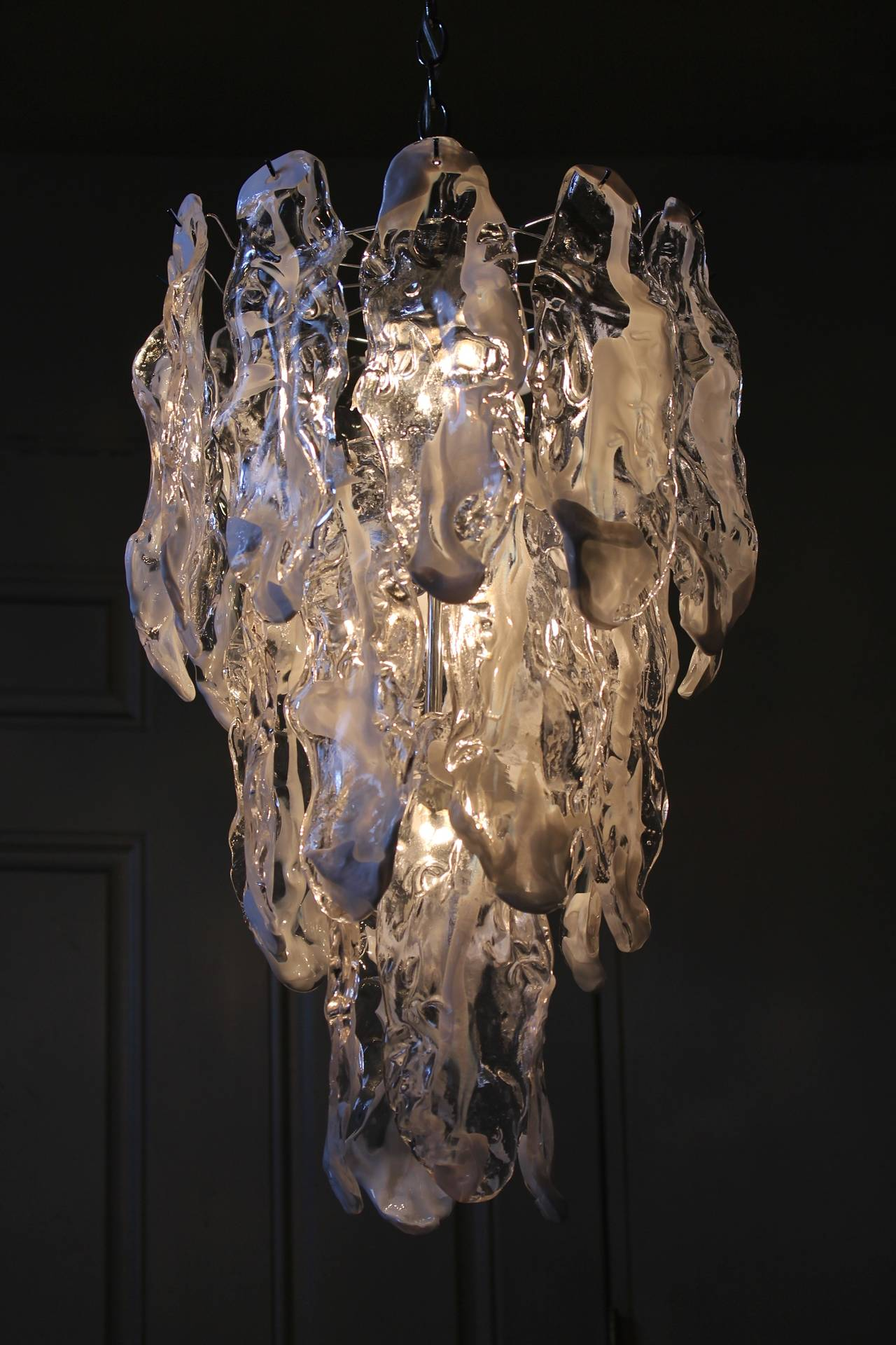 Murano Textured Glass Chandelier by Mazzega 4