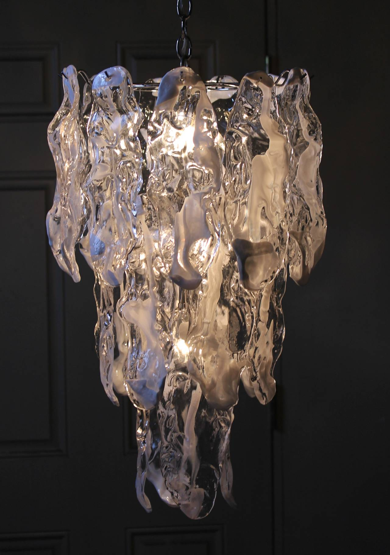 Murano Textured Glass Chandelier by Mazzega 8