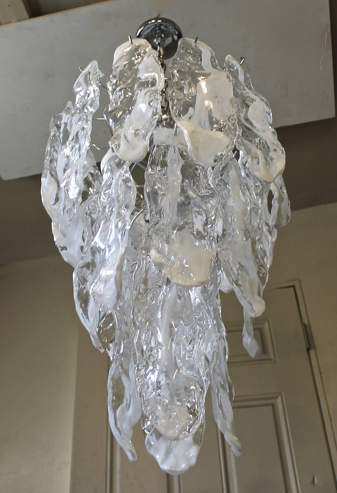 Murano Textured Glass Chandelier by Mazzega 6