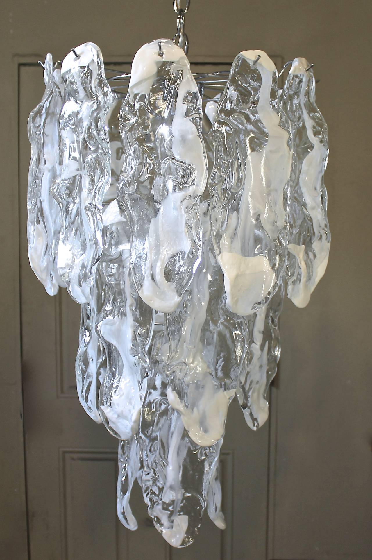 Murano Textured Glass Chandelier by Mazzega 5