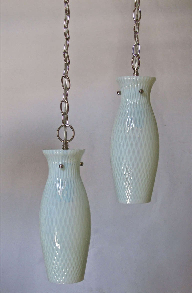 Pair of italian opalescent glass hanging pendant lights for sale at 1stdibs - Italian pendant lights ...