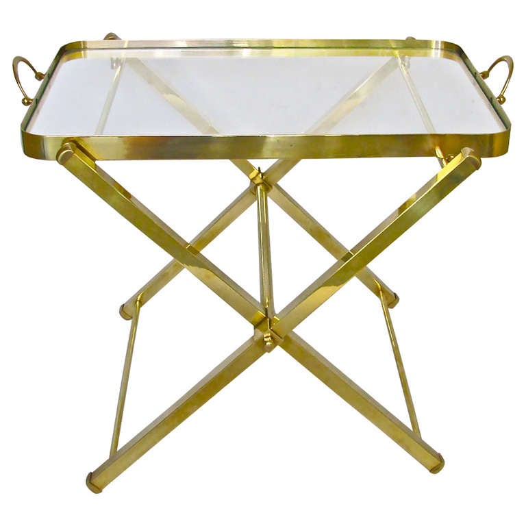 Italian brass serving tray side end table at 1stdibs for Tray side table