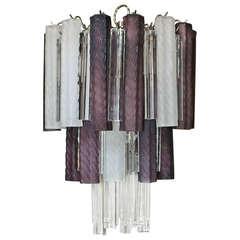 Murano Italian Purple White Venini Crystal Combination Chandelier