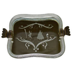 Murano Venetian Twisted Glass Rope Mirrored Vanity Tray