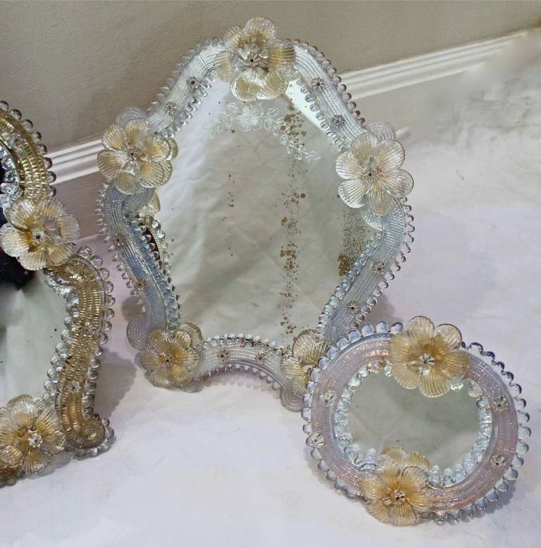 Murano Venetian Floral Glass Table Mirrors At 1stdibs