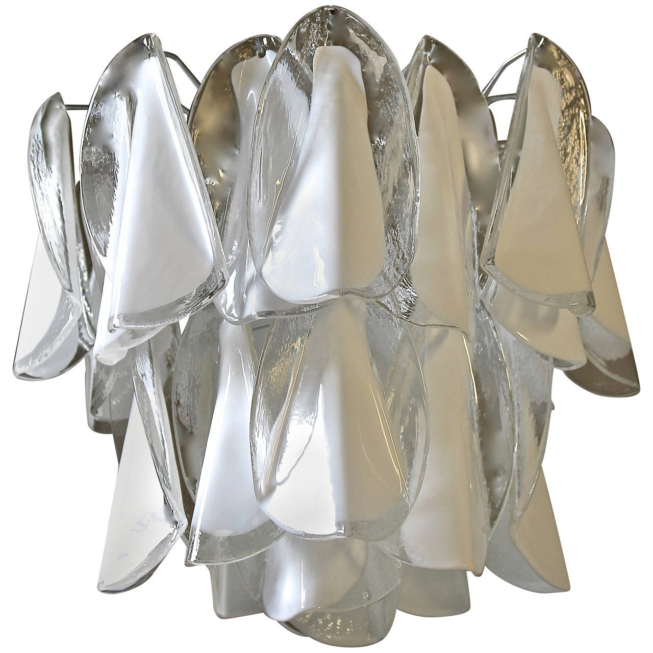 Mazzega Murano Clear White Petal Chandelier For Sale