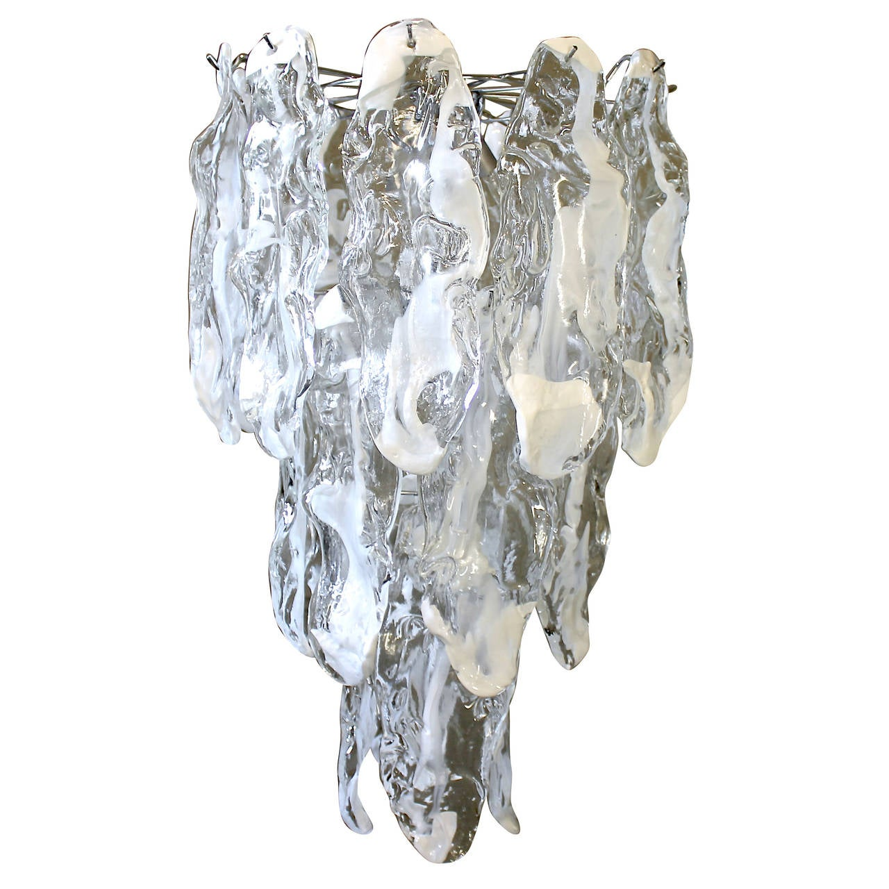 Murano Textured Glass Chandelier by Mazzega 1
