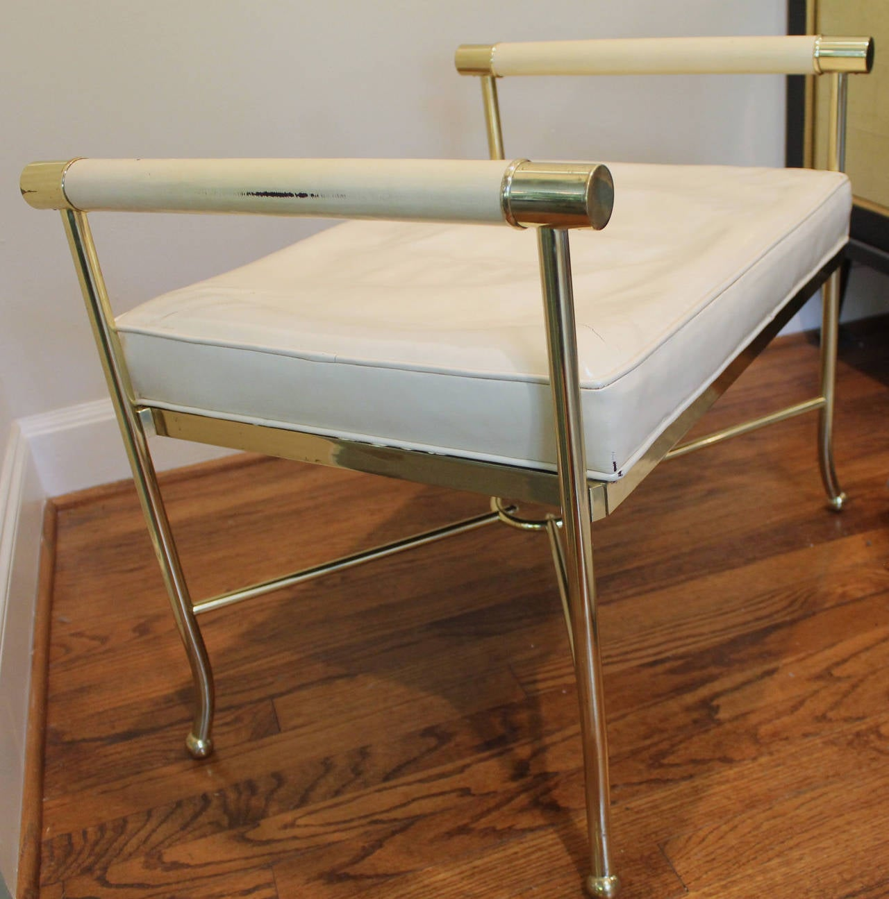 Parzinger Style Brass X Base Bench For Sale At 1stdibs