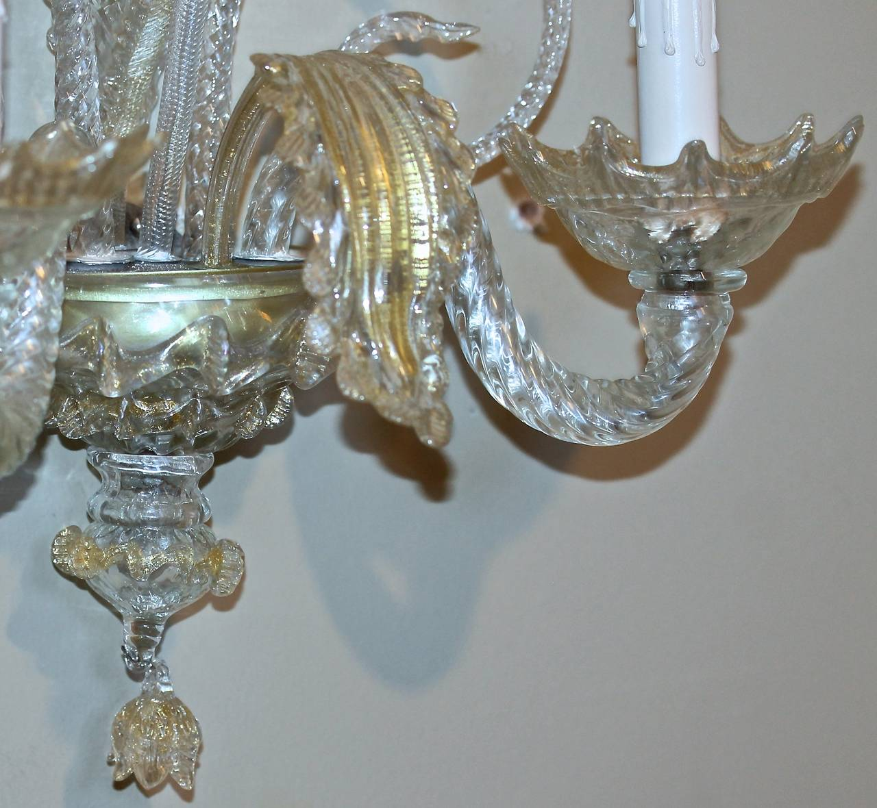 Pair of Venetian Murano Clear and Gold Glass Sconces at 1stdibs