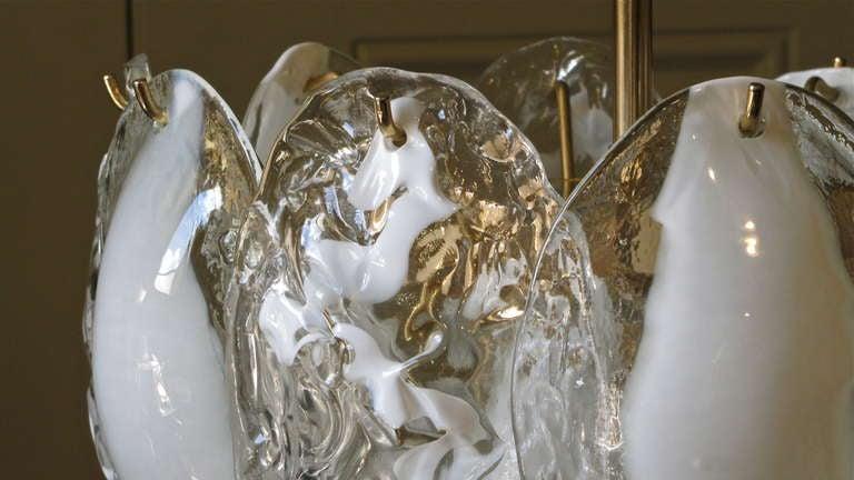 Brass Mazzega Murano Clear White Glass Chandelier For Sale