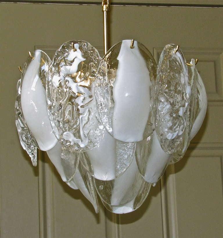 Italian Mazzega Murano Clear White Glass Chandelier For Sale