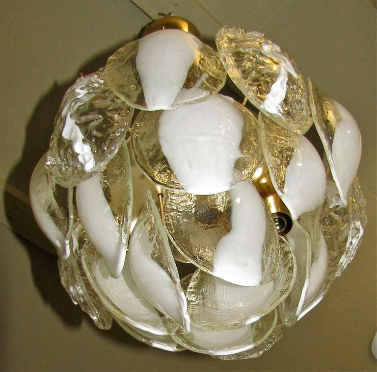 Mazzega Murano Clear White Glass Chandelier For Sale 2