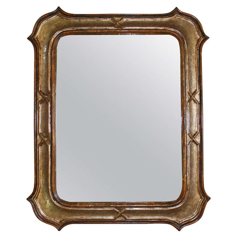 Itailan silver gilt and painted carved wood wall mirror for Silver mirrors for sale