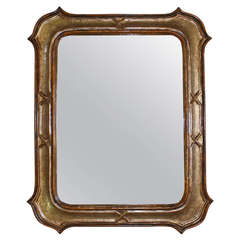 Italian Silver Gilt and Painted Neoclassic Carved Wood Wall Mirror