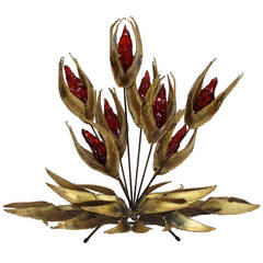 Bijan Brass Amber Floral Midcentury Brutalist Table Sculpture