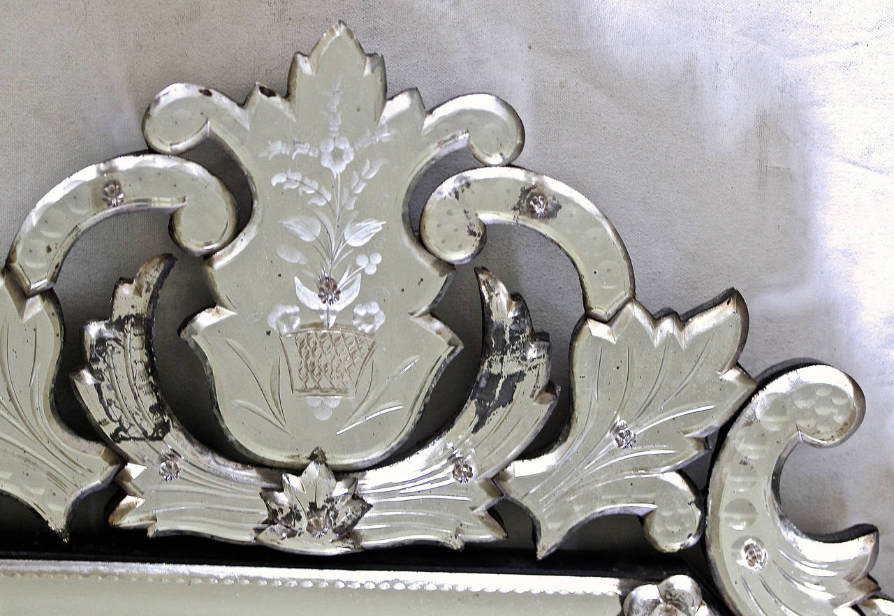 Italian Venetian Etched Glass Wall Mirror For Sale 2