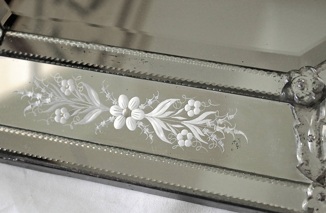 Italian Venetian Etched Glass Wall Mirror For Sale 3