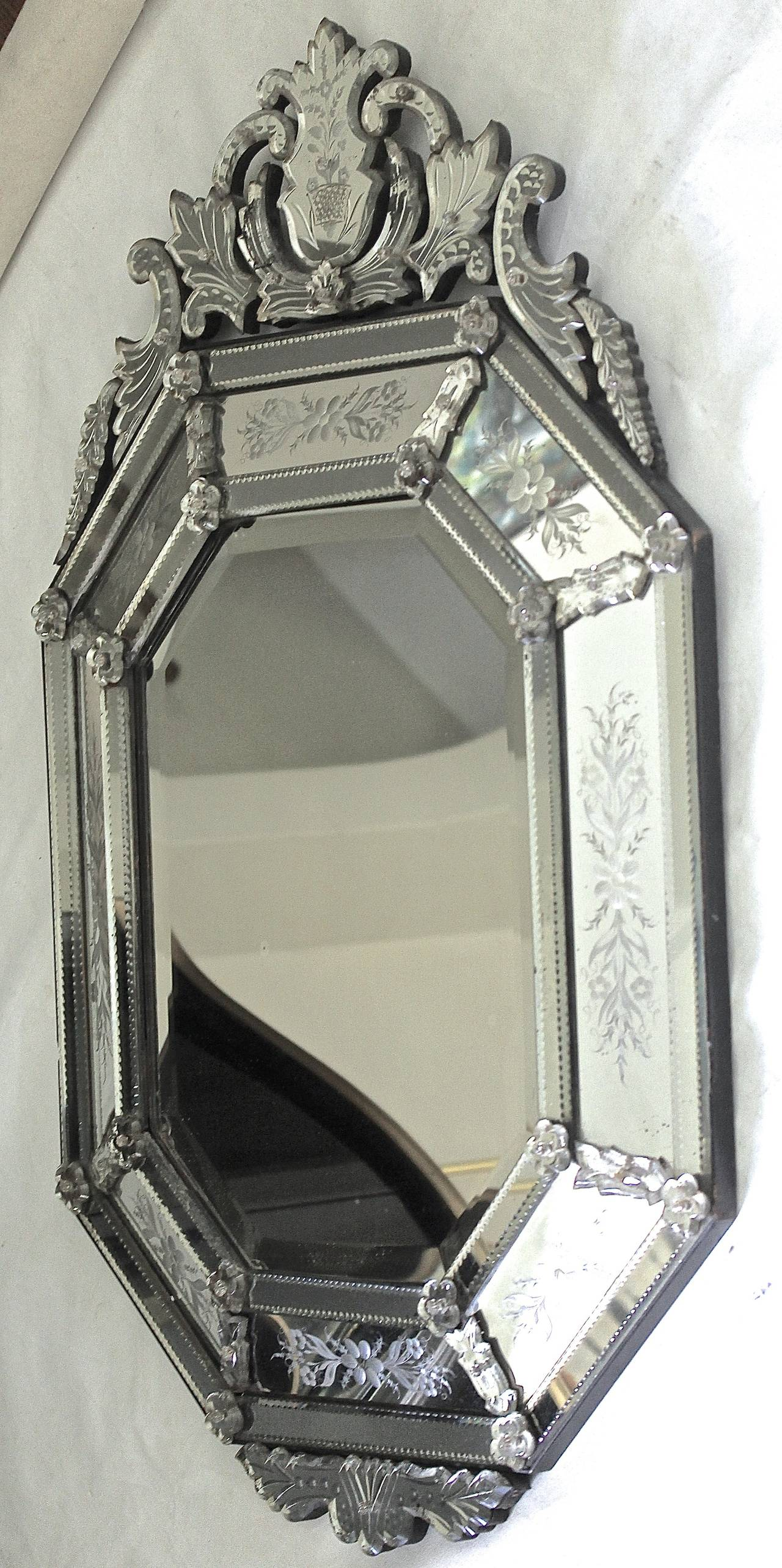 Early 20th Century Italian Venetian Etched Glass Wall Mirror For Sale