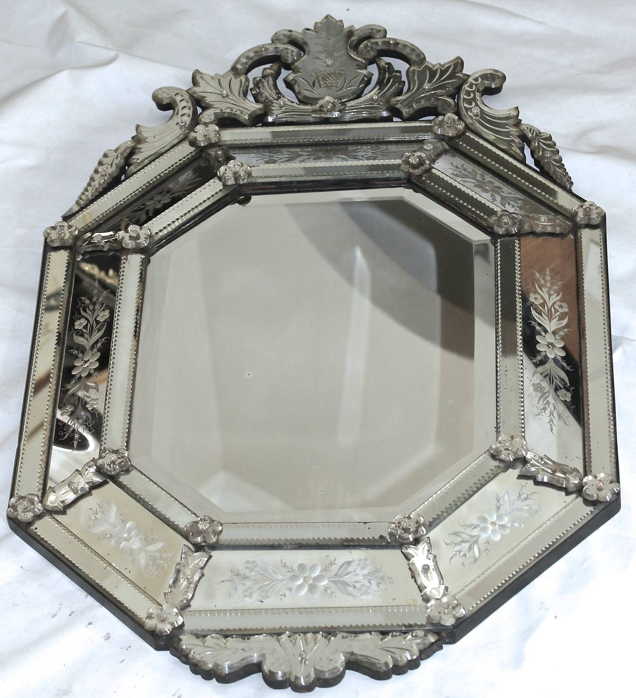 Italian Venetian Etched Glass Wall Mirror For Sale 5