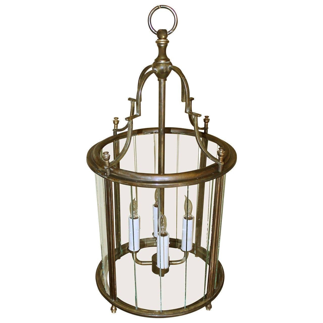Italian Neoclassic Brass Hall Lantern Pendant Light