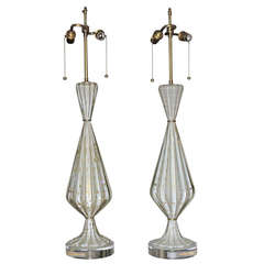 Pair of Murano White and Gold Controlled Bubble Table Lamps