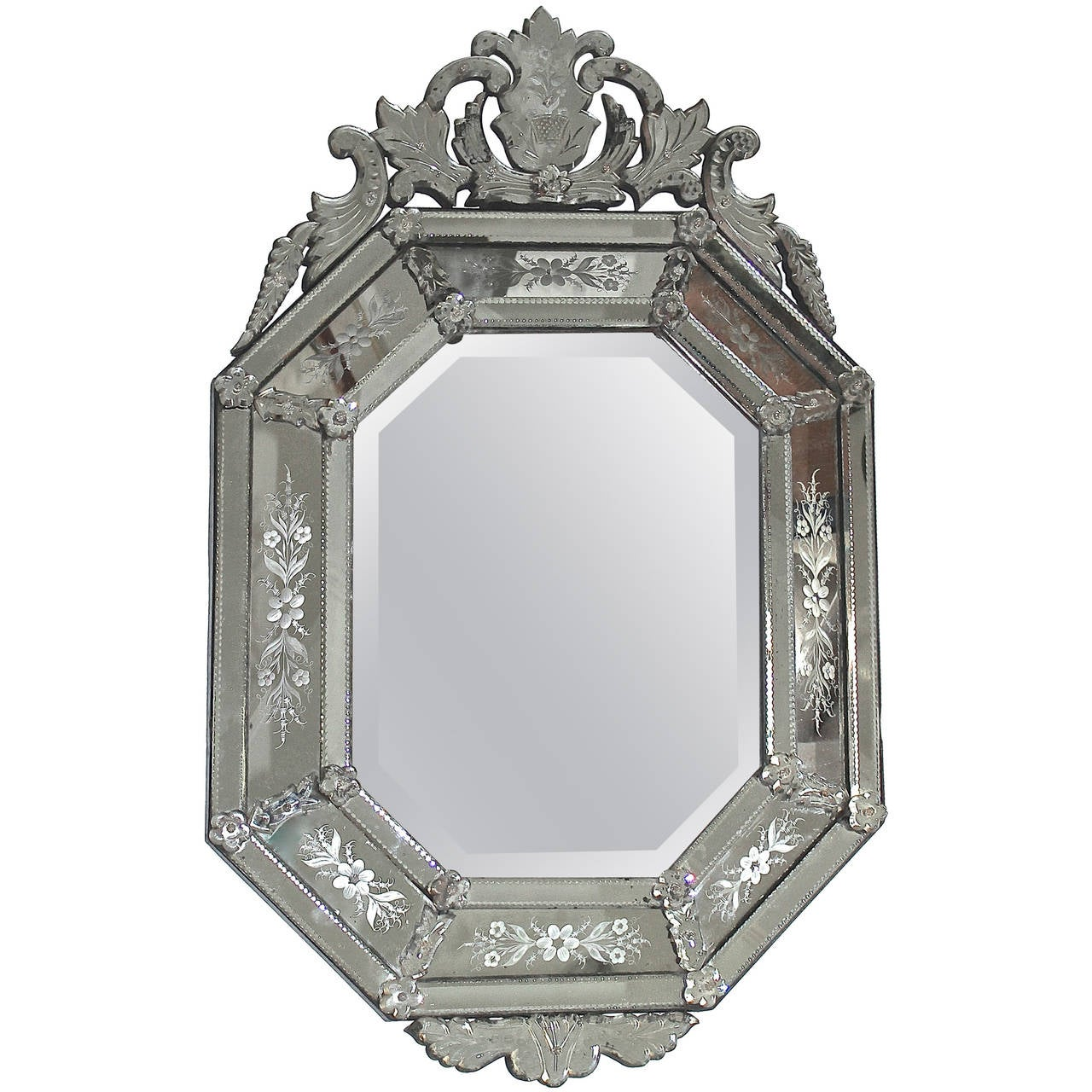 Italian Venetian Etched Glass Wall Mirror For