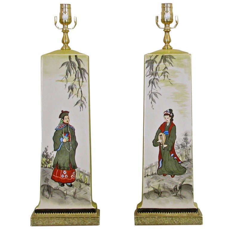 Pair of James Mont Style Asian Inspired Painted Ceramic Lamps