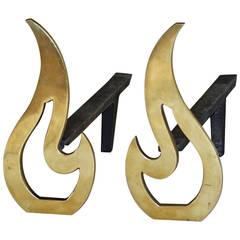 Pair of Modern Flame Shape Brass Andirons