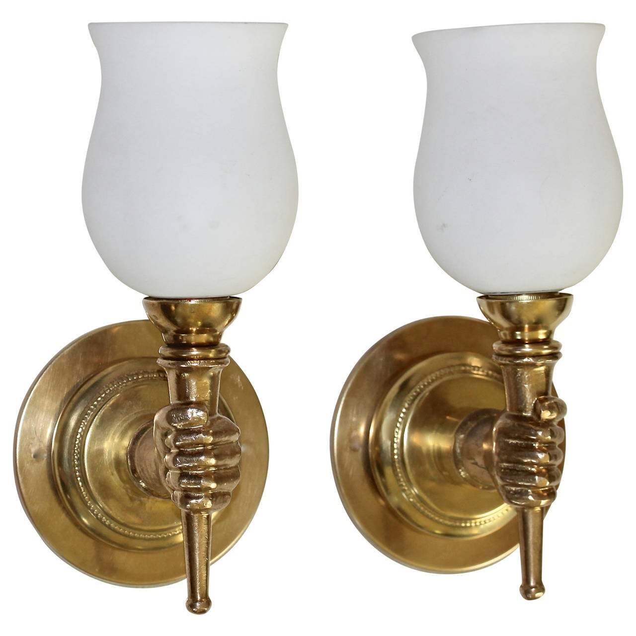 Large Torch Wall Lights : John Devoluy Hand Torch Bronze Wall Sconces at 1stdibs