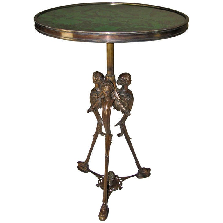 French Bronze Neoclassic Faux Malachite Side Table