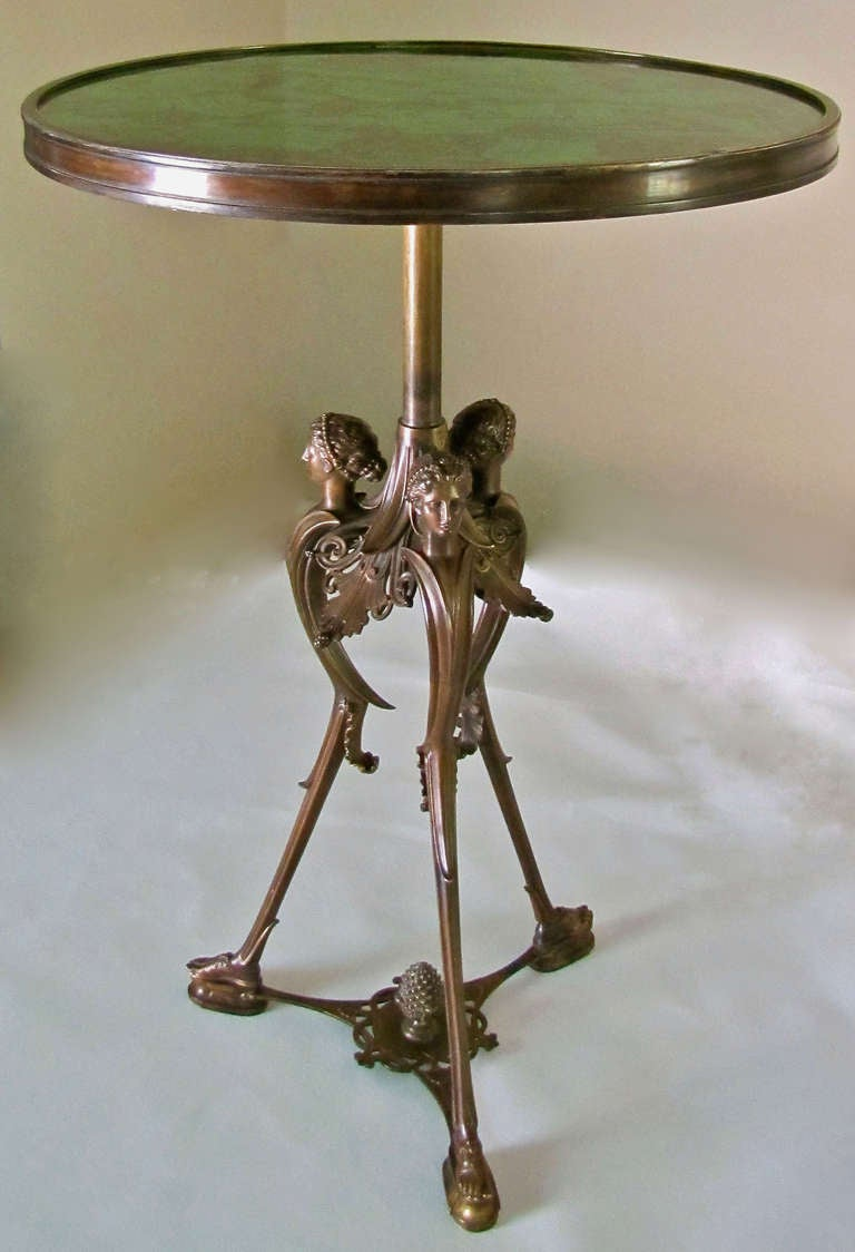 French Bronze Neoclassic Faux Malachite Side Table For Sale 1