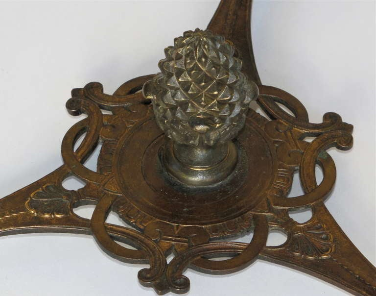 French Bronze Neoclassic Faux Malachite Side Table For Sale 2