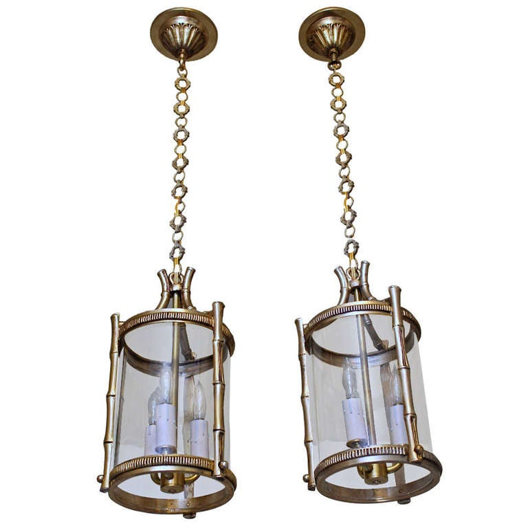 Pair French Brass Faux Bamboo Pendant Lights 1