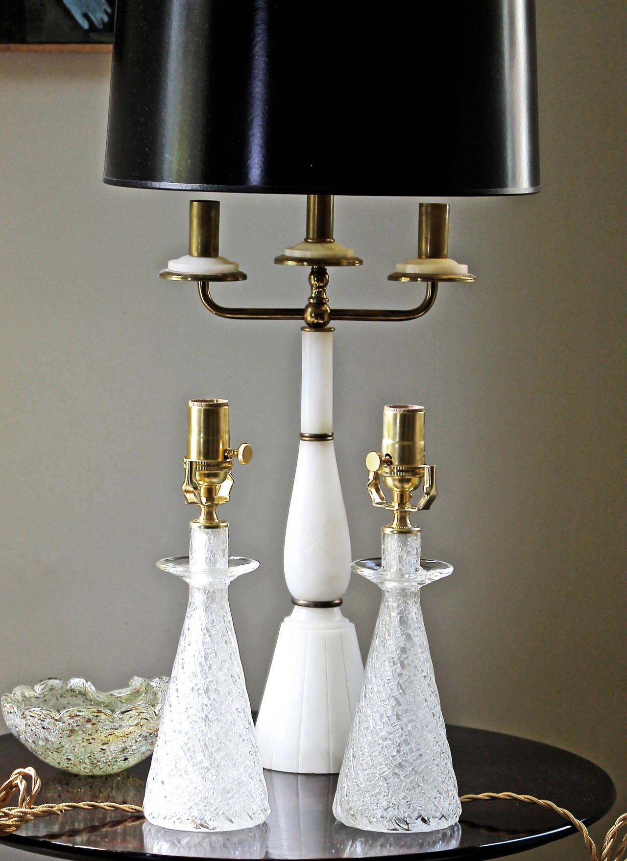 Pair Diminutive Murano Mantle Lamps At 1stdibs