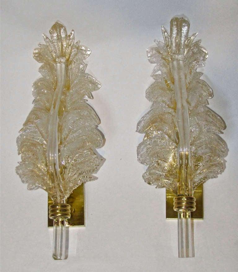 Italian Glass Wall Sconces : Barovier Murano Italian Glass Leaf Wall Sconces at 1stdibs