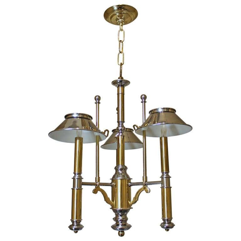 Lightolier Brass and Nickel Three-Light Chandelier