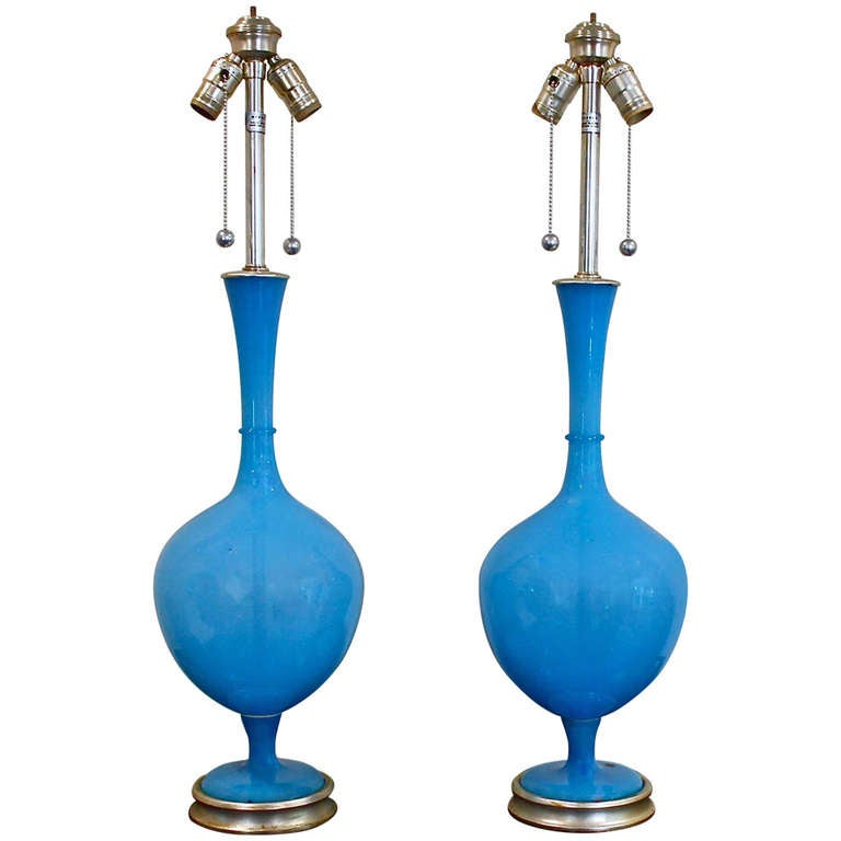 Large Pair of Vibrant Blue Swedish Blown Glass Table Lamps by Marbro