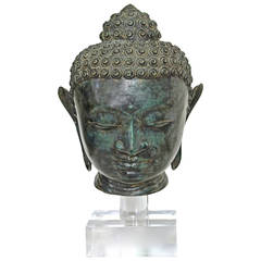 Burmese Patinated Bronze Buddha Bust or Head