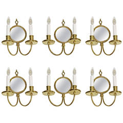 Set of Six Adam Style Brass Convex Mirror Wall Sconces