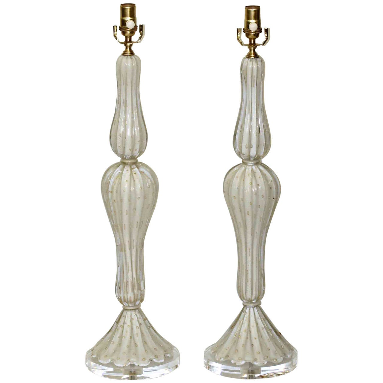 this pair of tall murano white and gold controlled bubble table lamps. Black Bedroom Furniture Sets. Home Design Ideas